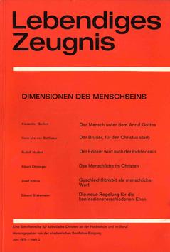 DIMENSIONEN DES MENSCHSEINS - 1970 Heft 2 - 25. Jahrgang