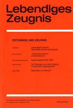 ZEITGÄNGE UND ZEUGNIS  - 1992 Heft 3 - 47. Jahrgang