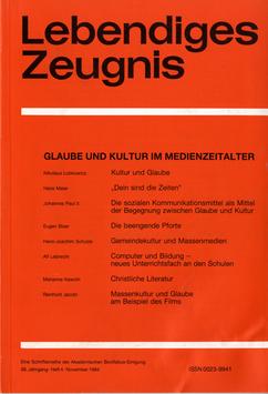 GLAUBE UND KULTUR IM MEDIENZEITALTER  - 1984 Heft 4 - 39. Jahrgang