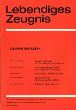 LITURGIE UND LEBEN - 1970 Heft 1 - 25. Jahrgang