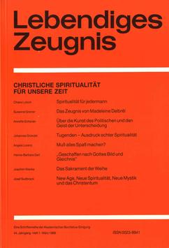 CHRISTLICHE SPIRITUALITÄT FÜR UNSERE ZEIT - 1989 Heft 1 - 44. Jahrgang