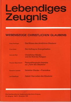 WESENSZÜGE CHRISTLICHEN GLAUBENS - 1976 Heft 4 - 31. Jahrgang