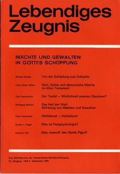 MÄCHTE UND GEWALTEN IN GOTTES SCHÖPFUNG - 1976 Heft 3 - 31. Jahrgang