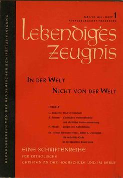IN DER WELT — NICHT VON DER WELT - 1959 Heft 1 - 14. Jahrgang
