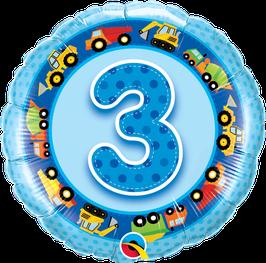 Ballon Geburtstag-Zahl: 3 Lastwagen Bagger