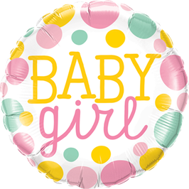 Folienballon Baby Girl Dots