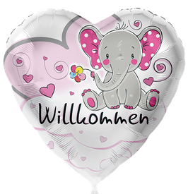 Folienballon Elefant Willkommen Rosa Baby