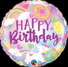 Ballon Geburtstag: 88010 Happy Birthday Einhorn Regenbogen