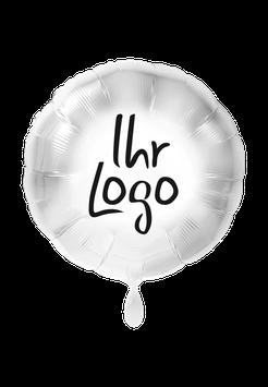 Logoballon Rund befüllt weiß