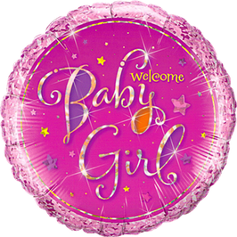 Folienballon  Welcome Baby Girl Stars