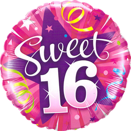 Ballon Geburtstag: Happy Birthday sweet 16 pink