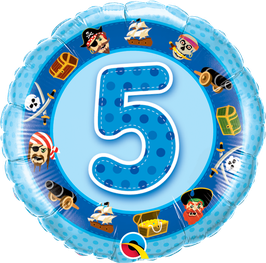 Ballon Geburtstag-Zahl: 5 Piraten Seeräuber