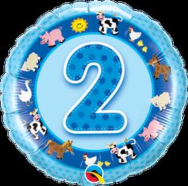 Ballon Geburtstag-Zahl: 2 Bauernhof Tiere