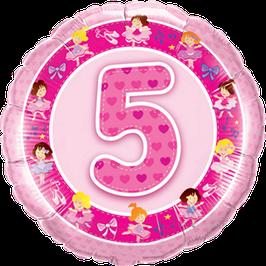Ballon Geburtstag-Zahl: 5 Ballerina pink