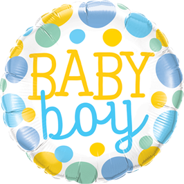 Folienballon Baby Boy Dots