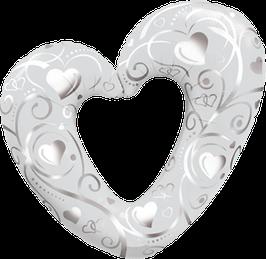 16304 Folienballon Hearts and Filligree white