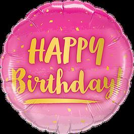 Ballon Geburtstag: 78672 Happy Birthday Gold und Pink