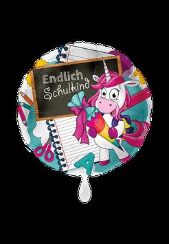 Folienballon Schulanfang Einhorn: Endlich Schulkind