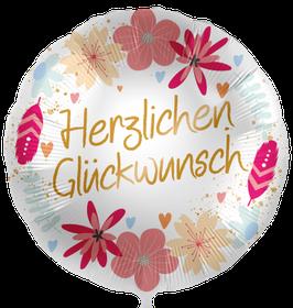 Ballon Geburtstag: 70205K  Herzlichen Glückwunsch Boho Flowers
