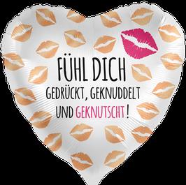"""70057K Folienballon """"Fühl Dich gedrückt, geknuddelt und geknutscht!"""""""