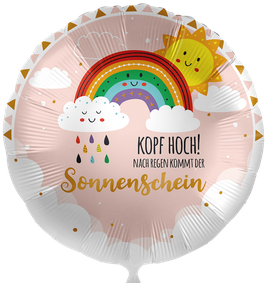 "70854K Folienballon ""Kopf Hoch! Nach Regen kommt der Sonnenschein"""