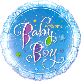 Folienballon  Welcome Baby Boy Stars