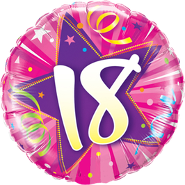 Ballon Geburtstag: Happy Birthday 18 pink