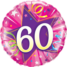 Ballon Geburtstag: Happy Birthday 60 pink
