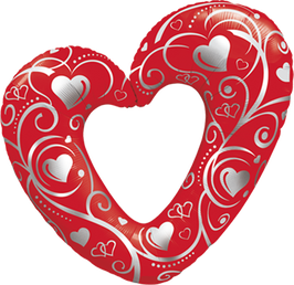 16441 Folienballon Hearts and Filligree red