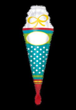 Folienballon  Schultüte bunt mit Namensetikett