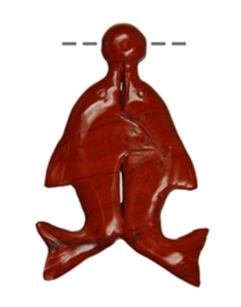 "Amulett Delfinpaar mit Ball ""roter Jaspis"""