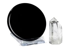 """Der """"magische"""" Spiegel  - Meditations-Set mit Obsidian und Bergkristall Spitze"""