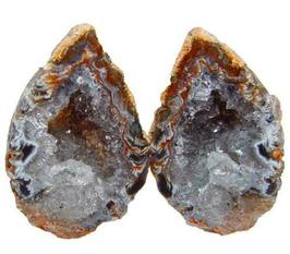 Pärchen Geode (Lovesign) Achat Paar geschnitten