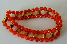 XL Edelstein Armband aus Karneol und Hämatit Perlen
