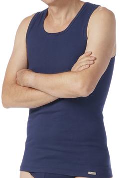 Shirt Feinripp ohne Arm | Marine