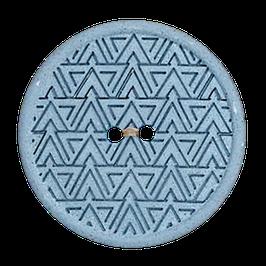 Ronde licht blauwe 2 gaats knoop met driehoek motief van gerecycled materiaal.