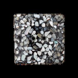 Zwart zilver grijze vierkante knoop van gerecycled materiaal.