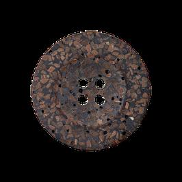 Buine ronde 4 gaats knoop met gladde rand van gerecycled materiaal.