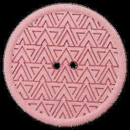 Ronde oud roze 2 gaats knoop met driehoek motief van gerecycled materiaal.