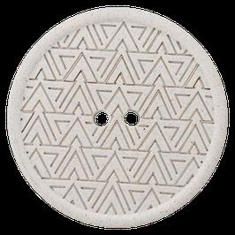 Ronde off-white 2 gaats knoop met driehoek motief van gerecycled materiaal.