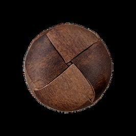 Leren ronde achtersteek knoop effen bruin van gerecycled materiaal.