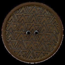 Ronde zwarte 2 gaats knoop met driehoek motief van gerecycled materiaal.