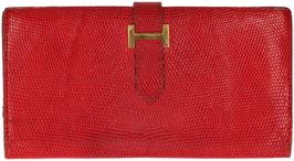Hermès Béarn Brieftasche aus Varnus Niloticus Leder in Rot