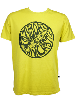 "Men T-Shirt ""My Boat Is My Castle"" // Mustard Yellow"