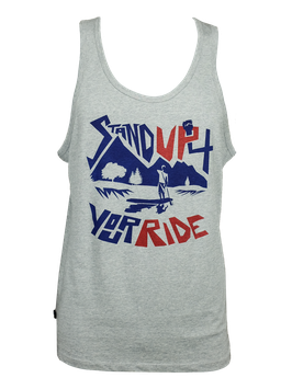 "Men Tanktop ""Stand Up 4 Your Ride"" // Heather Grey"