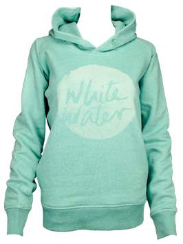 "Women Hoodie ""White Water"" // Mid Heather Green"