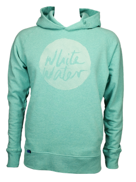 "Men Hoodie ""White Water"" // Mid Heather Green"