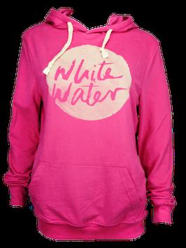 """Unisex Hoodie """"White Water"""" // Raspberry"""