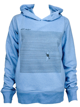 "Women Hoodie ""Liquid"" // Mid Heather Blue"