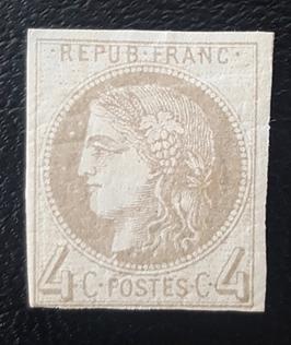 LOT #4 FRANCE timbre n°41A * rarissime report 1 signé certificat Calves